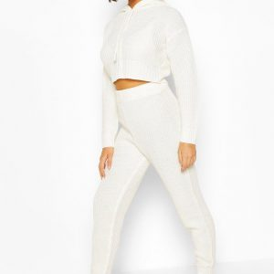 Stickad Mysdress Med Huva, White