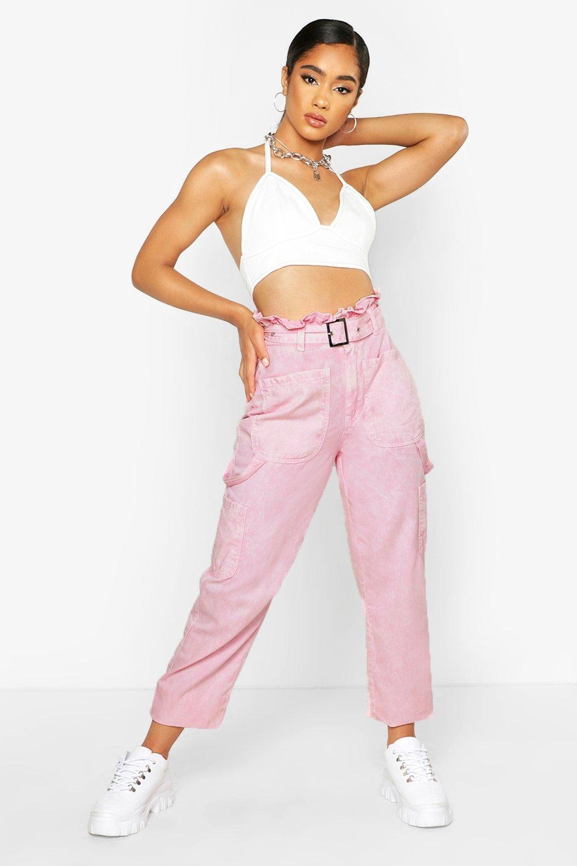 Acid Wash Belted Utility Jean, Pink