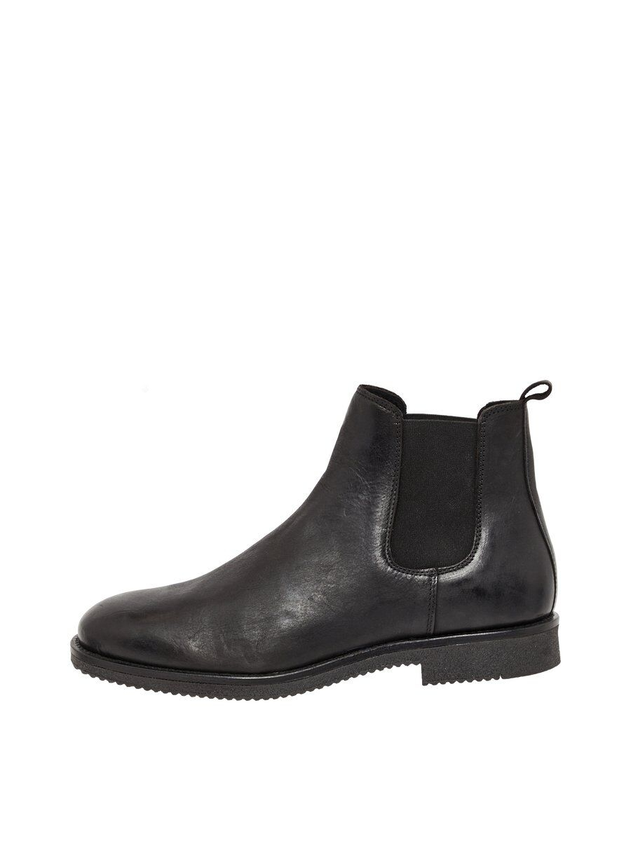 BIANCO Leather Chelsea Boots Man Svart