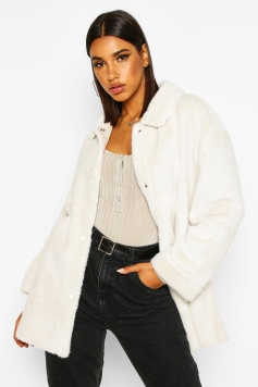 Belted Faux Suede Lined Faux Fur Coat, White