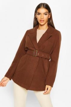 Belted Wool Look Blazer Coat, Brown