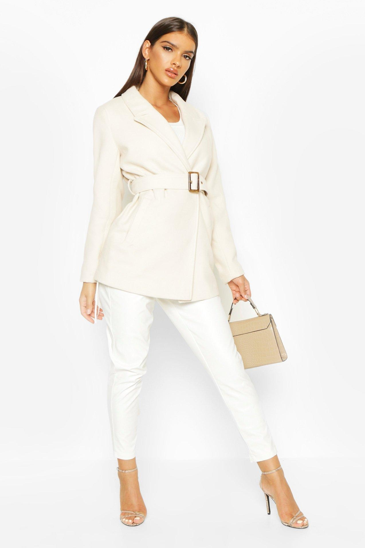 Belted Wool Look Blazer Coat, White
