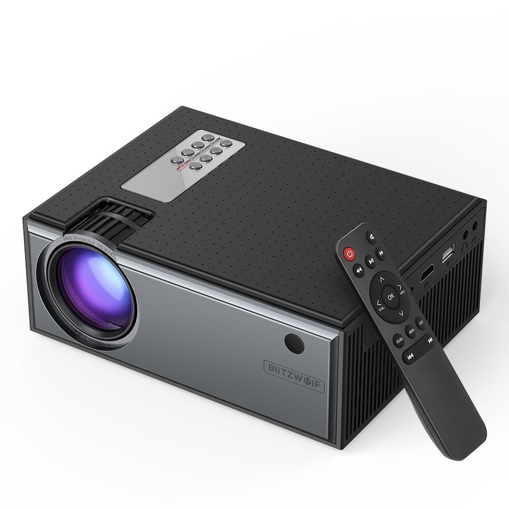 Blitzwolf® BW-VP1 LCD-projektor 2800 Lumen-stöd 1080P Input flera portar Bärbar smart hemmabioprojektor med fjärrkontrol