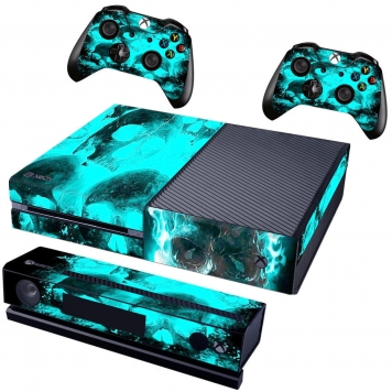 Blue Skull Cover Decal Skin Sticker För Xbox One Console Game Controller
