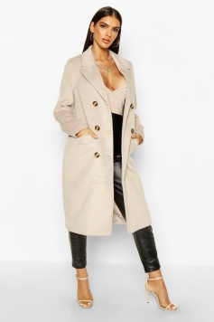 Brushed Wool Look Double Breasted Coat, Beige