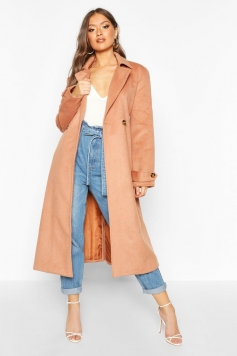 Brushed Wool Look Trench Coat, Beige