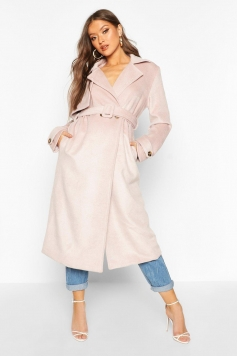 Brushed Wool Look Trench Coat, Pink