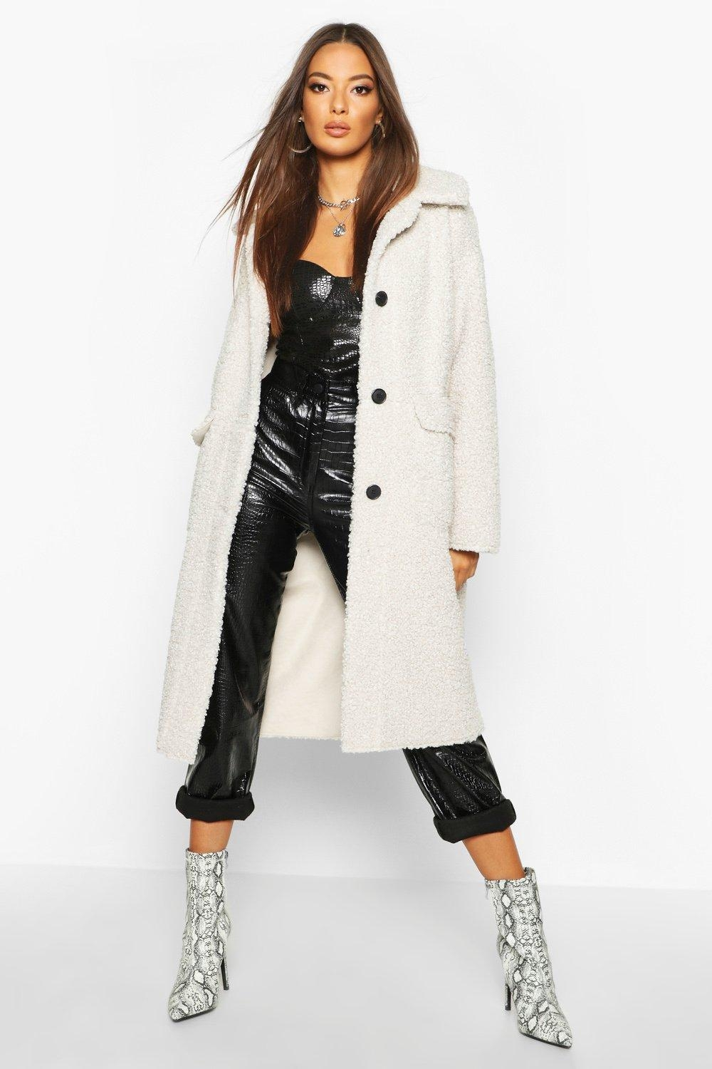 Button Up Faux Fur Bonded Teddy Coat, White