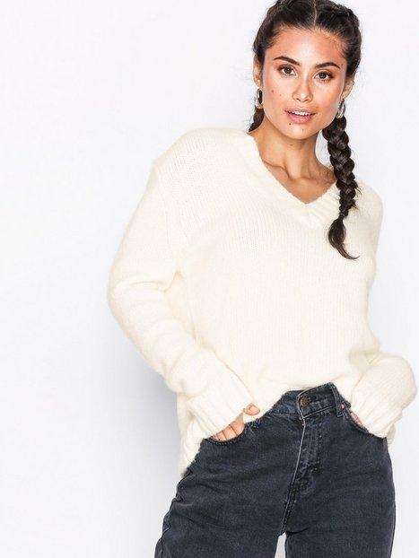 Calvin Klein Jeans Alpaca Blend V-Neck Stickade tröjor Egret