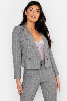Cheek Pocket Detail Blazer, Purple