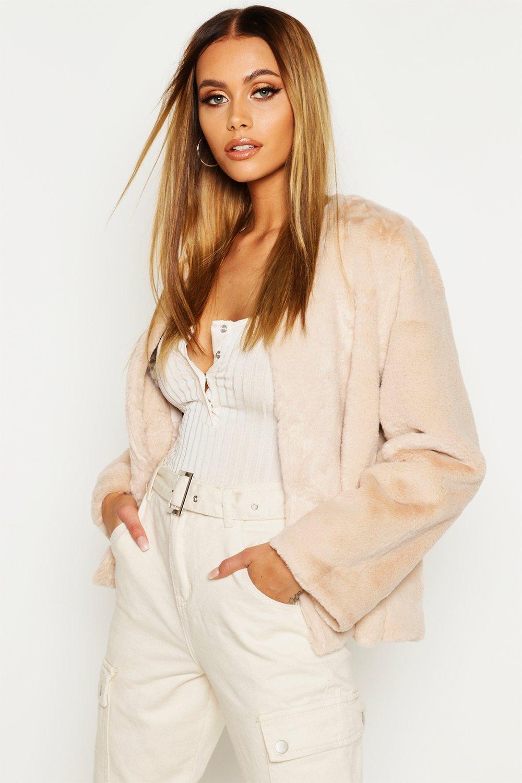 Collarless Faux Fur Coat, White