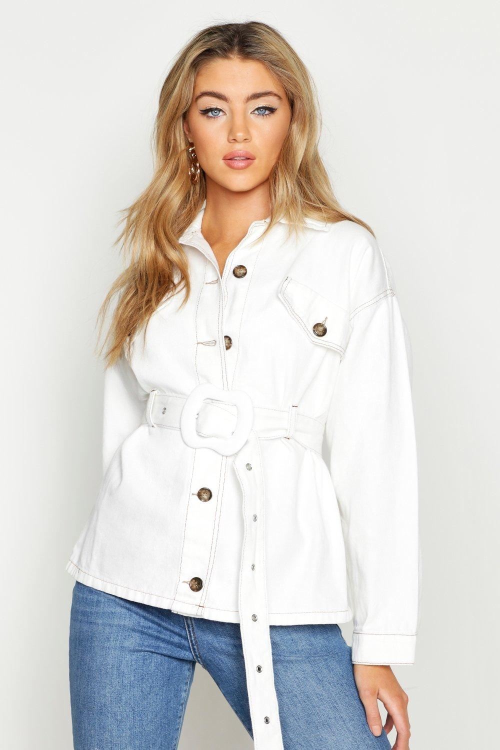 Contrast Stitch Belted Jacket, White