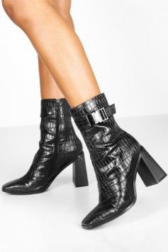 Croc Buckle Detail Block Heel Sock Boots, Black