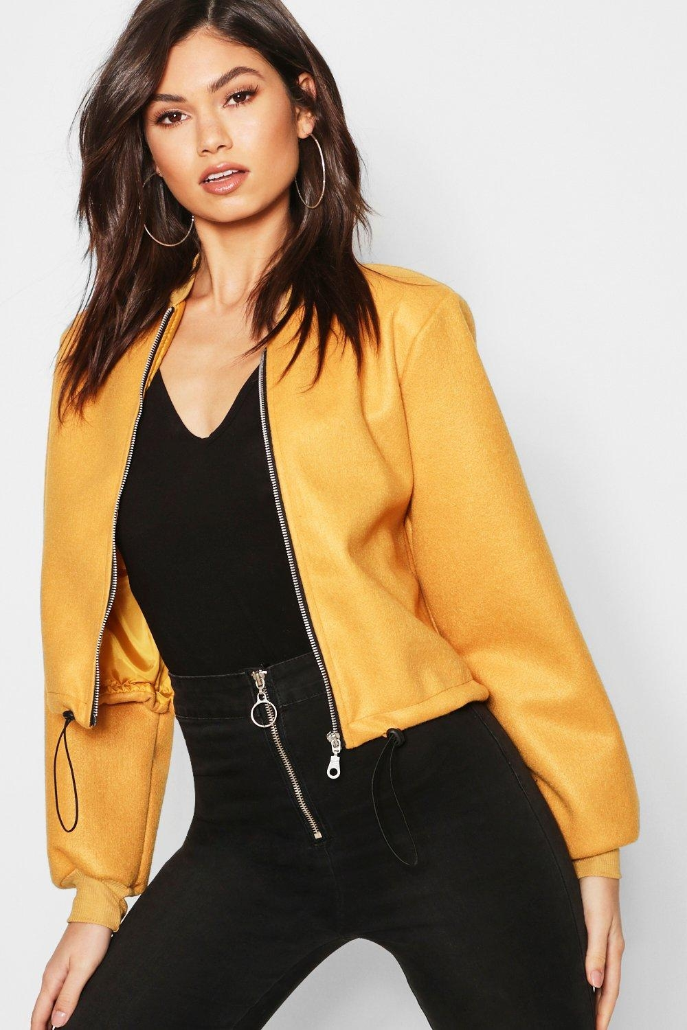 Crop Wool Look Bomber Jacket, Yellow