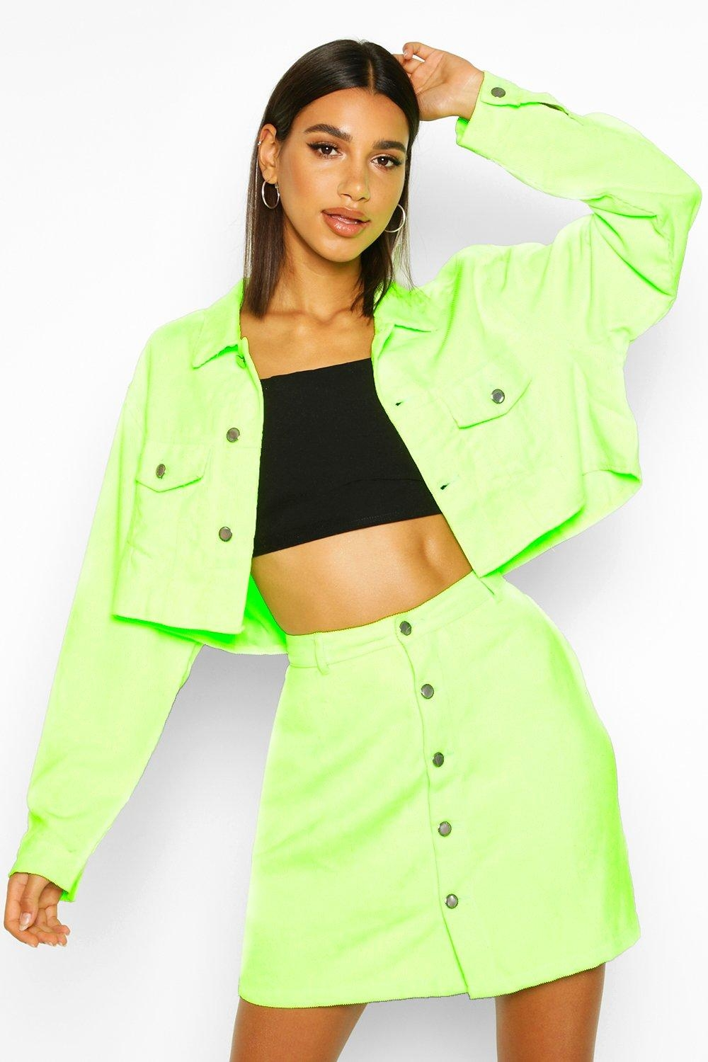 Cropped Neon Cord Jacket, Green