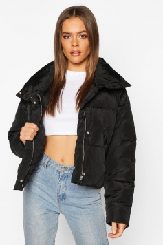 Cropped Panelled Funnel Neck Puffer, Black