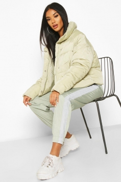 Cropped Panelled Funnel Neck Puffer, Green