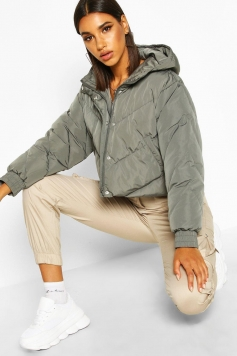 Cropped Panelled Hooded Puffer, Grey