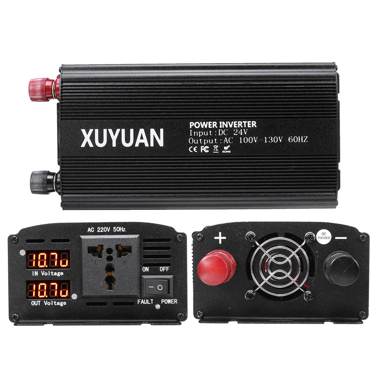 DC 12V / 24V Till AC 110V / 220V Bärbar Dual LED Inverter 7000W Peak Sine Wave Power Converter
