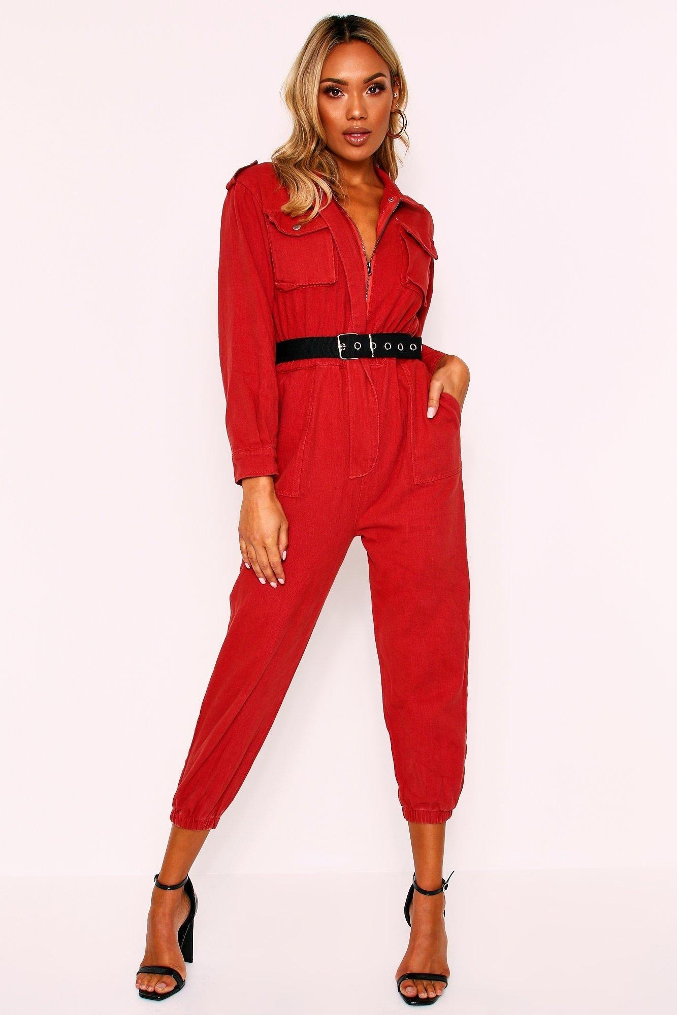 Denim Belted Utility Jumpsuit, Brown
