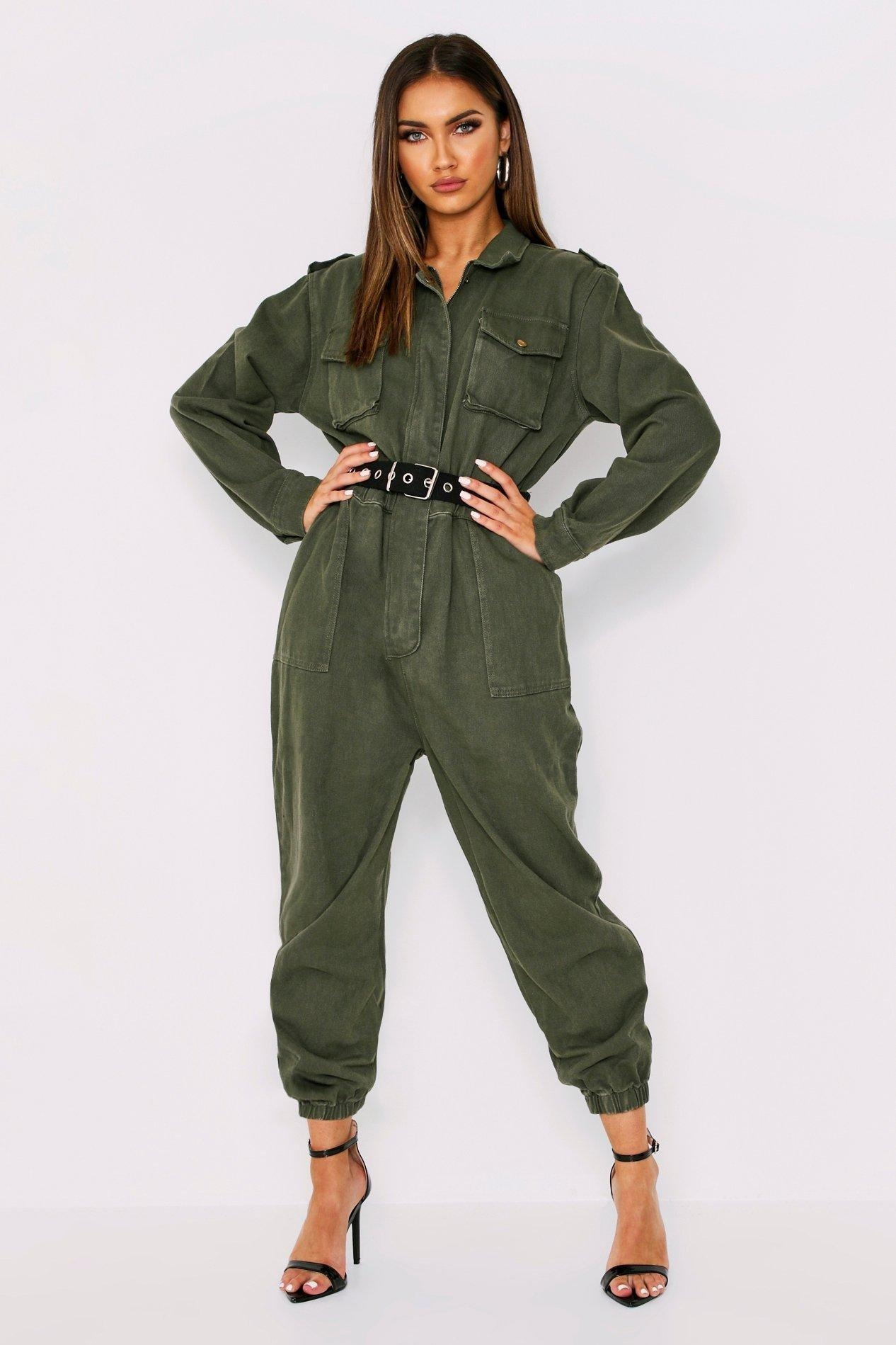 Denim Belted Utility Jumpsuit, Green