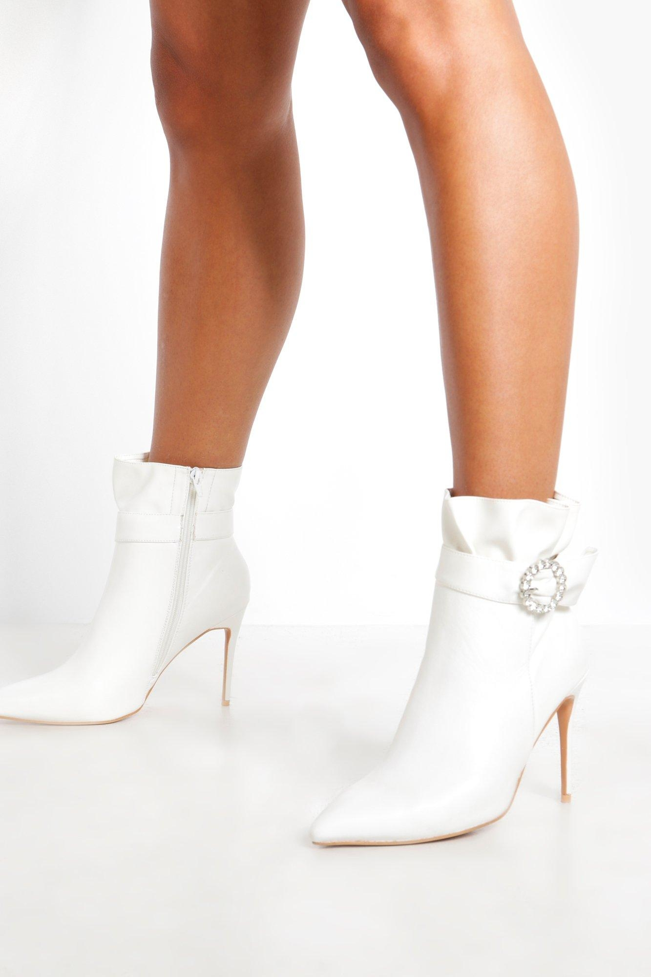 Diamante Buckle Shoe Boots, White