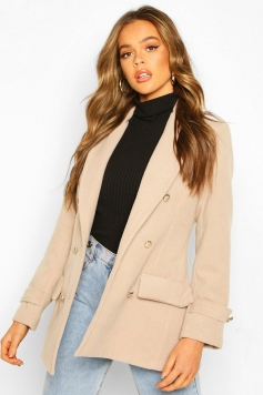 Double Breasted Military Wool Look Coat, Beige