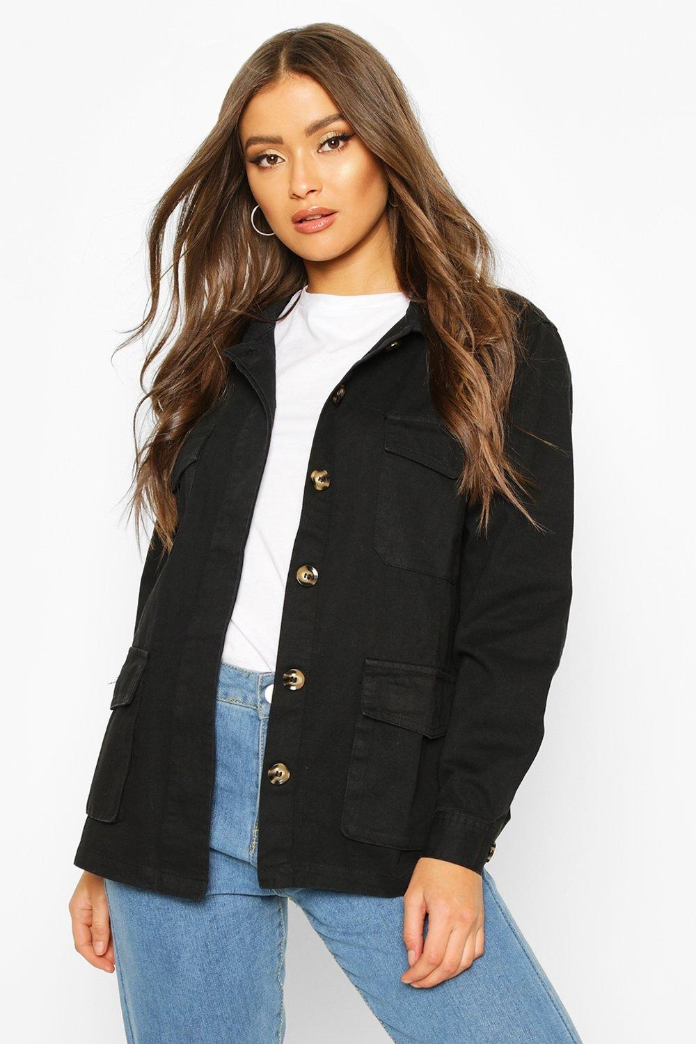 Double Pocket Utility Jacket, Black