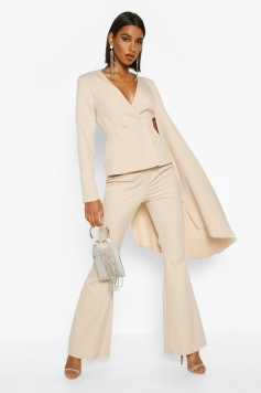 Extreme Flared Sleeve Double Breasted Blazer, Beige