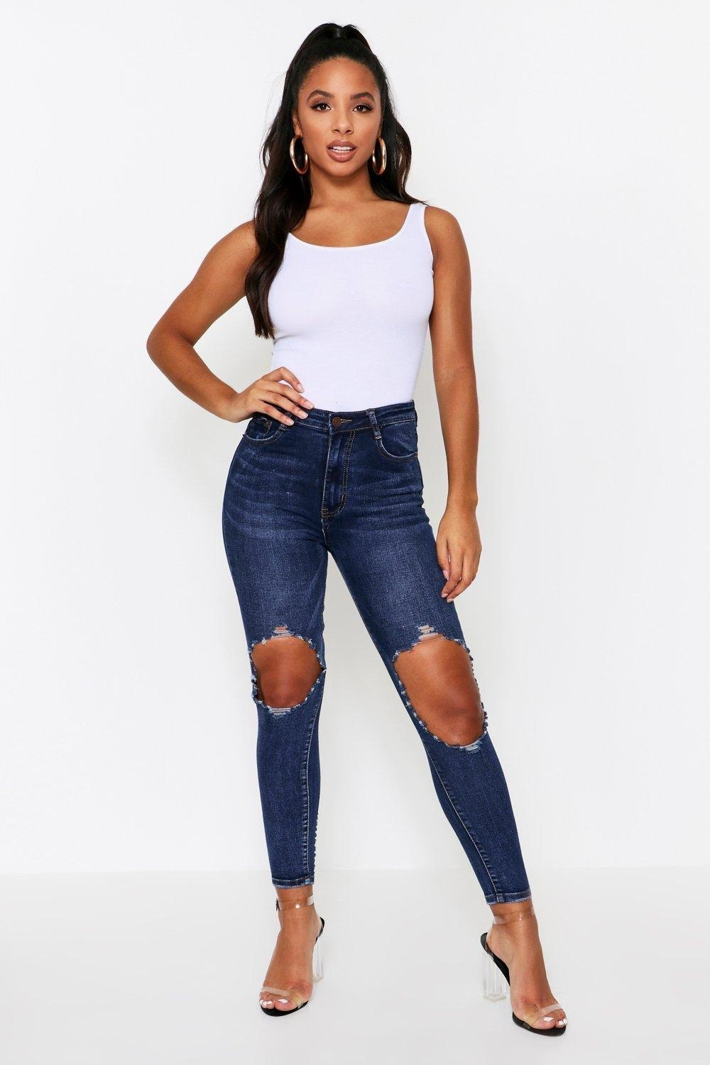 Extreme Ripped Knee Skinny Jeans, Blue