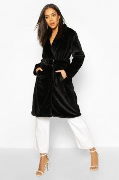 Faux Fur Buckle Belt Longline Coat, Black