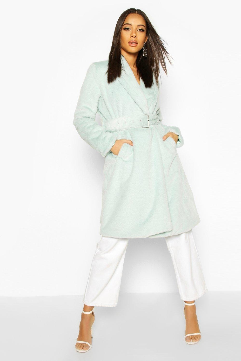 Faux Fur Buckle Belt Longline Coat, Green