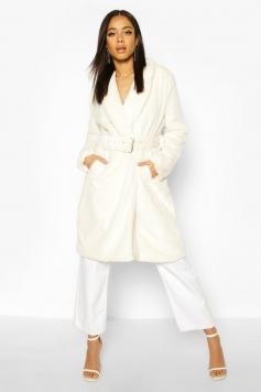 Faux Fur Buckle Belt Longline Coat, White