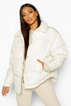 Faux Fur Collared Puffer Jacket