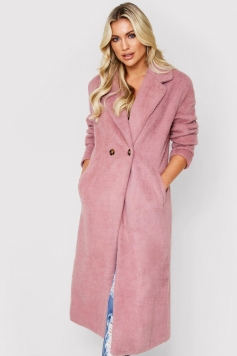 Faux Fur Oversized Long Coat, Pink