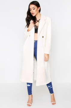 Faux Fur Oversized Long Coat, White