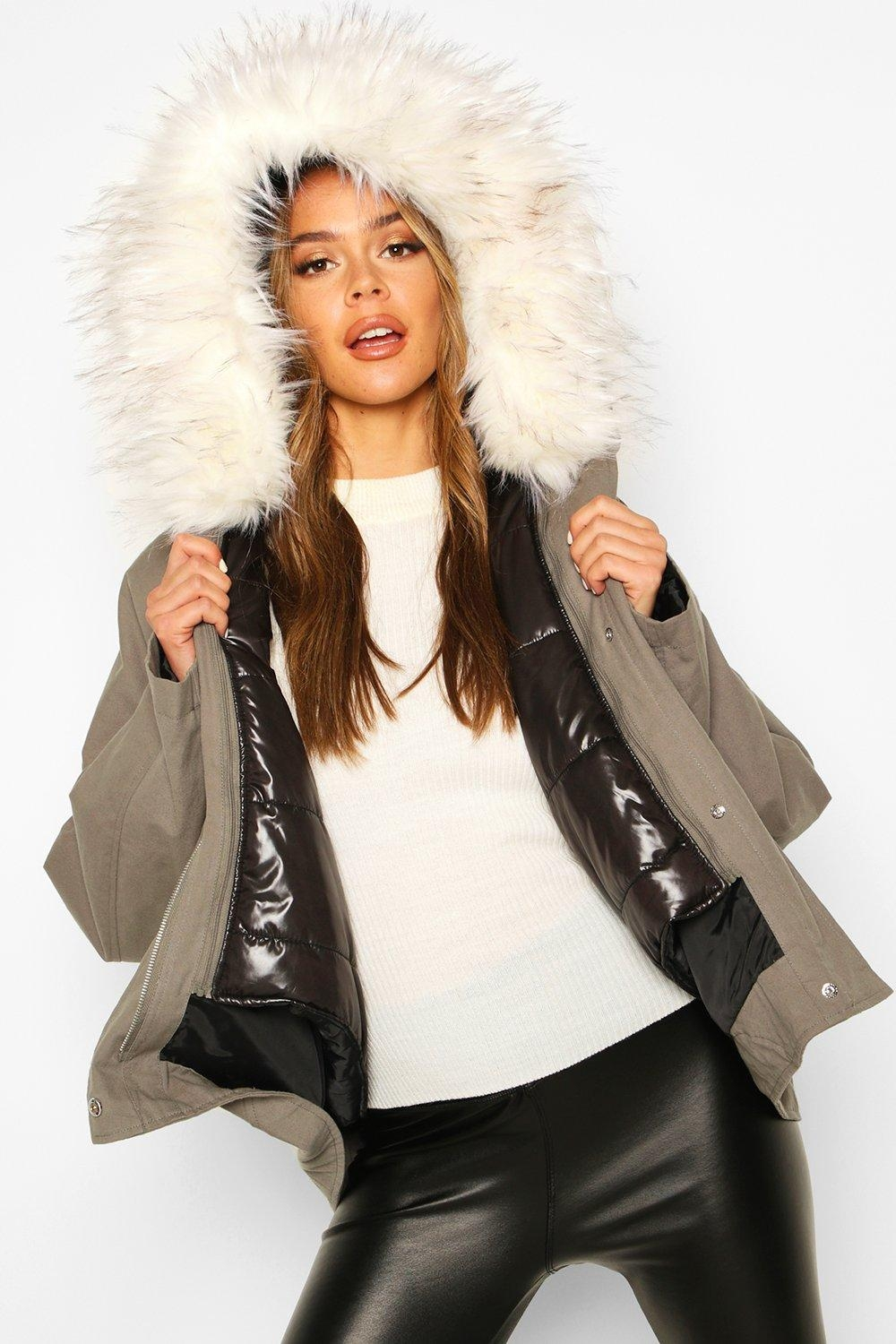 Faux Fur Trim Detachable Gilet Parka, Green