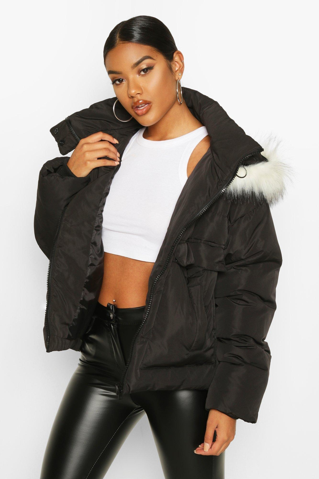 Faux Fur Trim Double Pocket Puffer, Black
