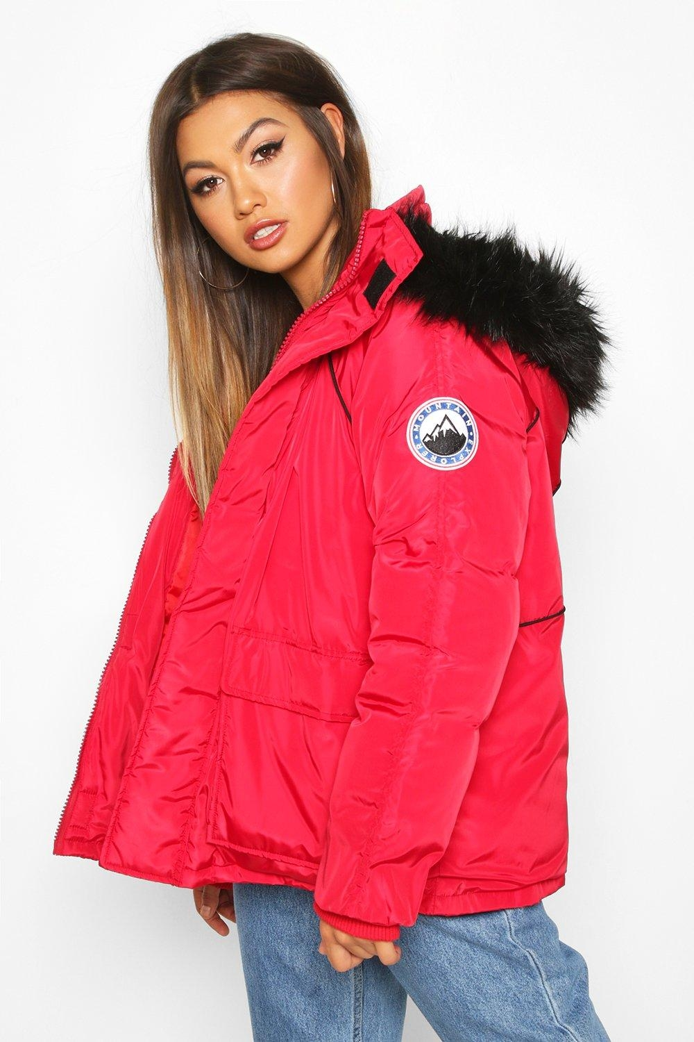 Faux Fur Trim Sporty Parka, Red