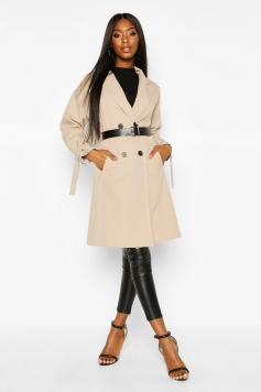 Faux Leather Belted Trench Coat, Beige