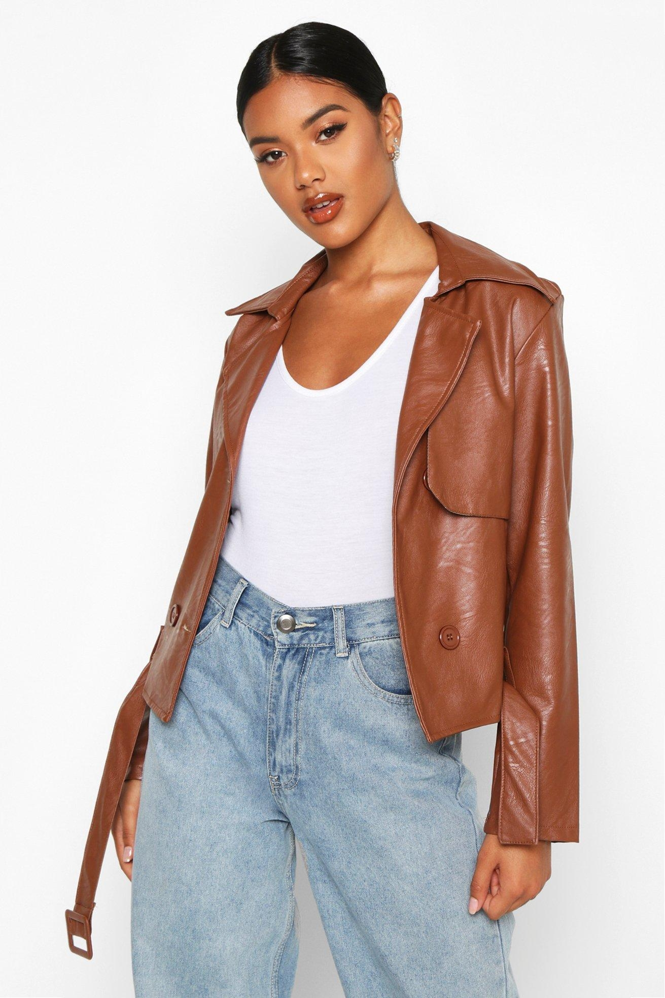 Faux Leather Short Trench Coat, Brown
