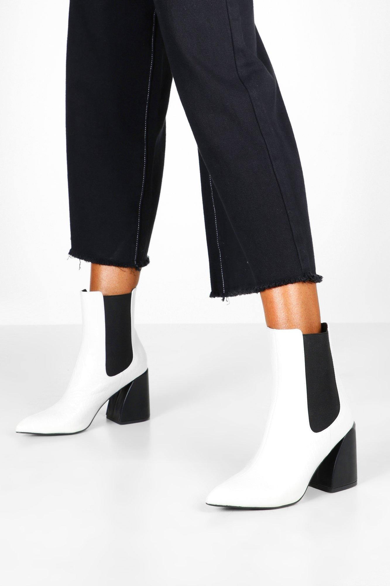 Flare Heel Chelsea Boots, White