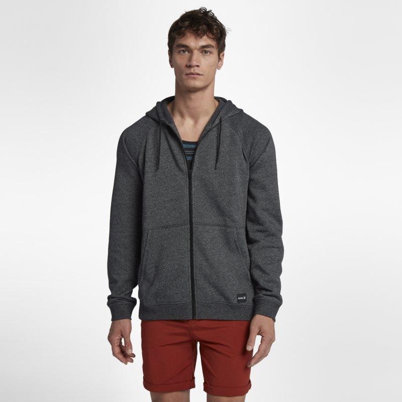 Fleecehuvtröja Hurley Crone Hooded Full-Zip för män – Svart