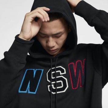 Fleecehuvtröja Nike Sportswear NSW med ledig passform för män - Svart