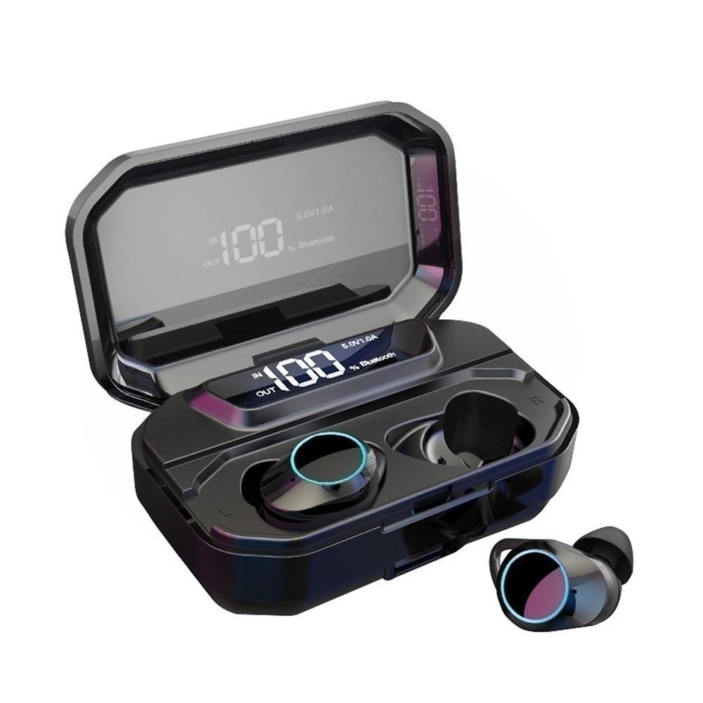 G02 TWS Trådlös Dual bluetooth 5.0 hörlurar Smart Touch LED-skärm vattentät hörlurar för mobiltelefoner