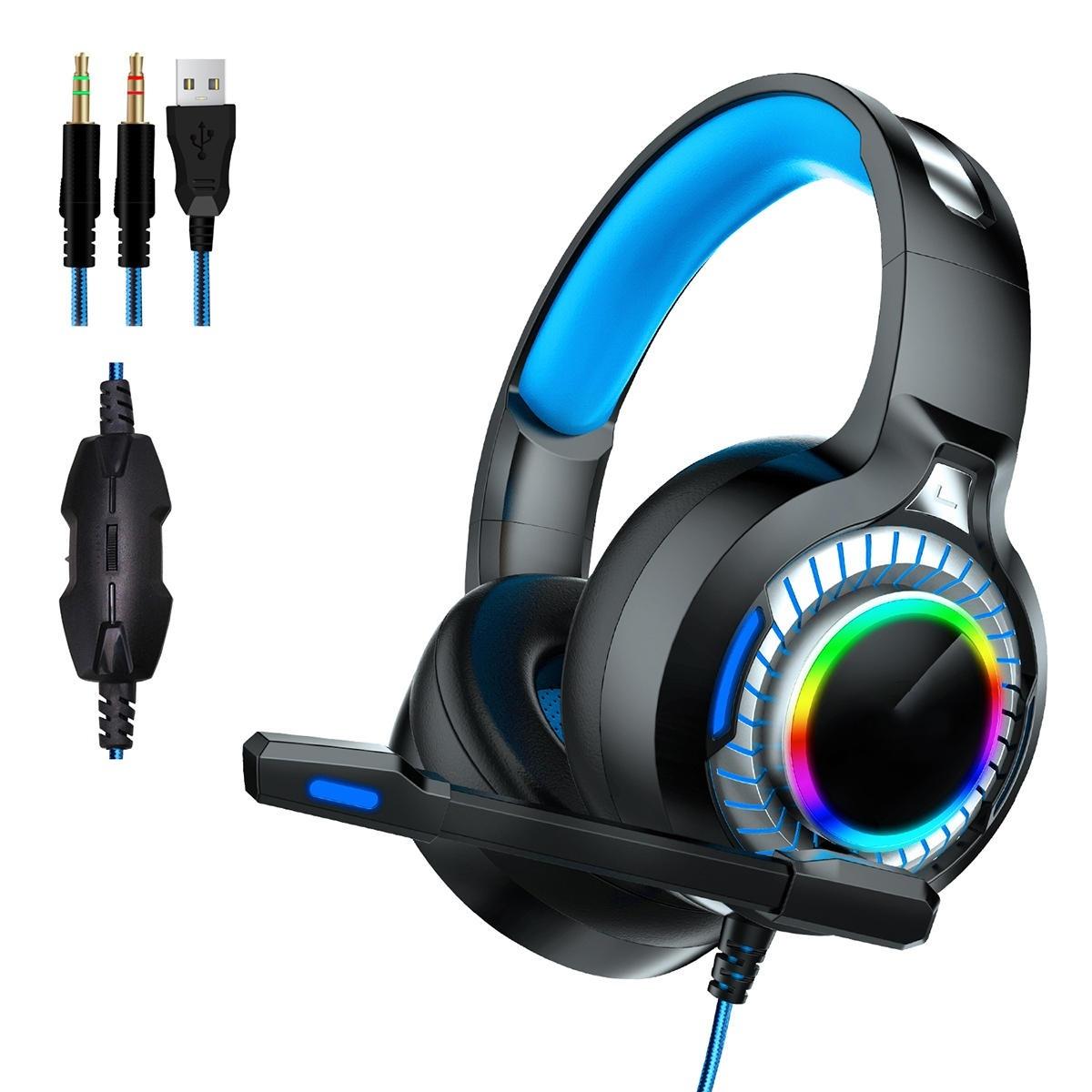 Gaming Headphone LED Light 7.1 USB-headset med ljudisolering Mic för PS4 XBOX Laptop