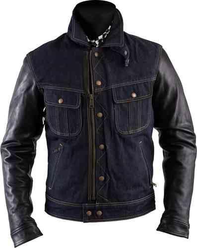 Helstons Cannonball Textil/läder jacka Svart Blå 2XL