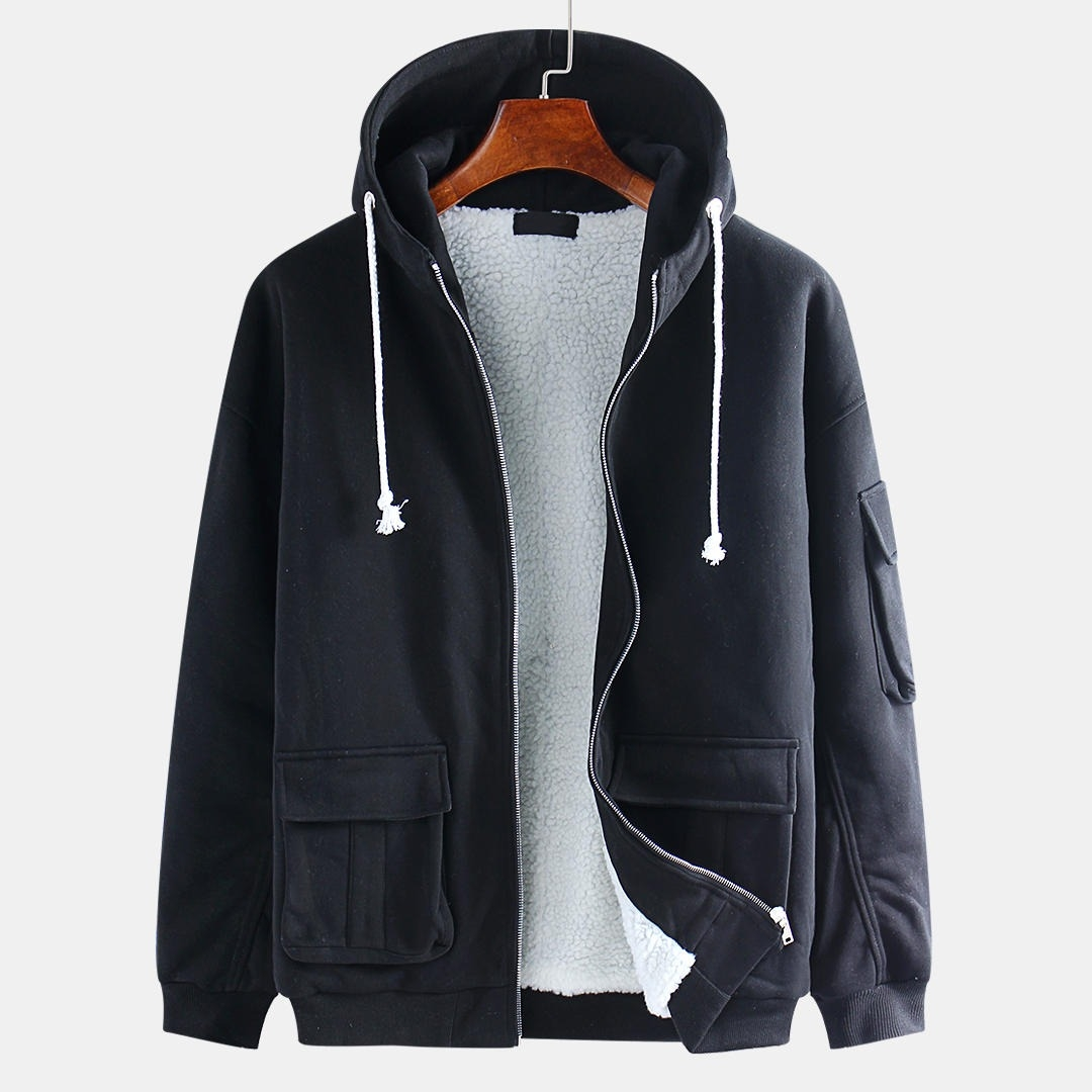 Herr Casual Hooded Cotton Double Big Pockets Drawstring Warm Jacket
