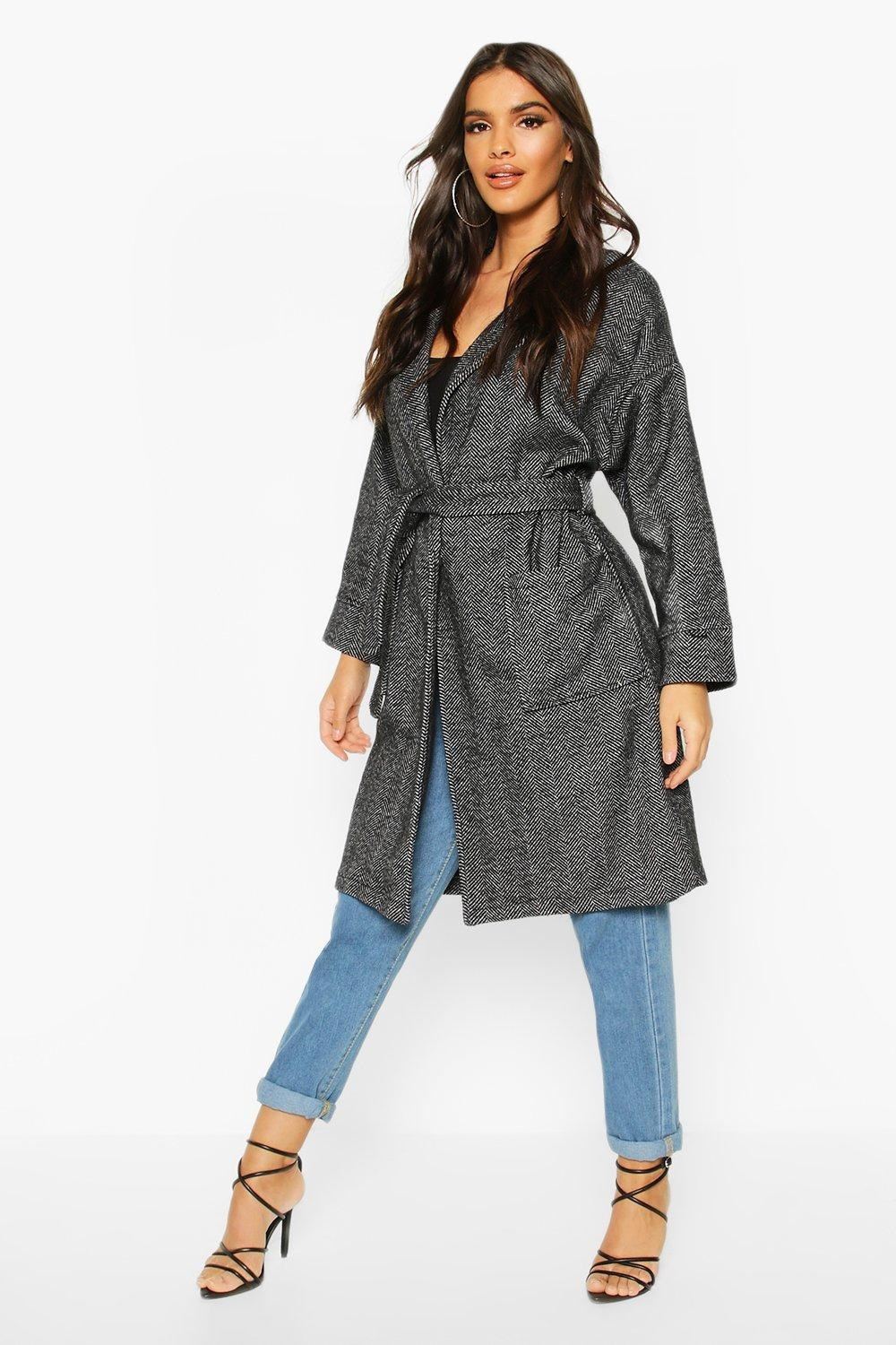 Herringbone Belted Wool Look Coat, Grey