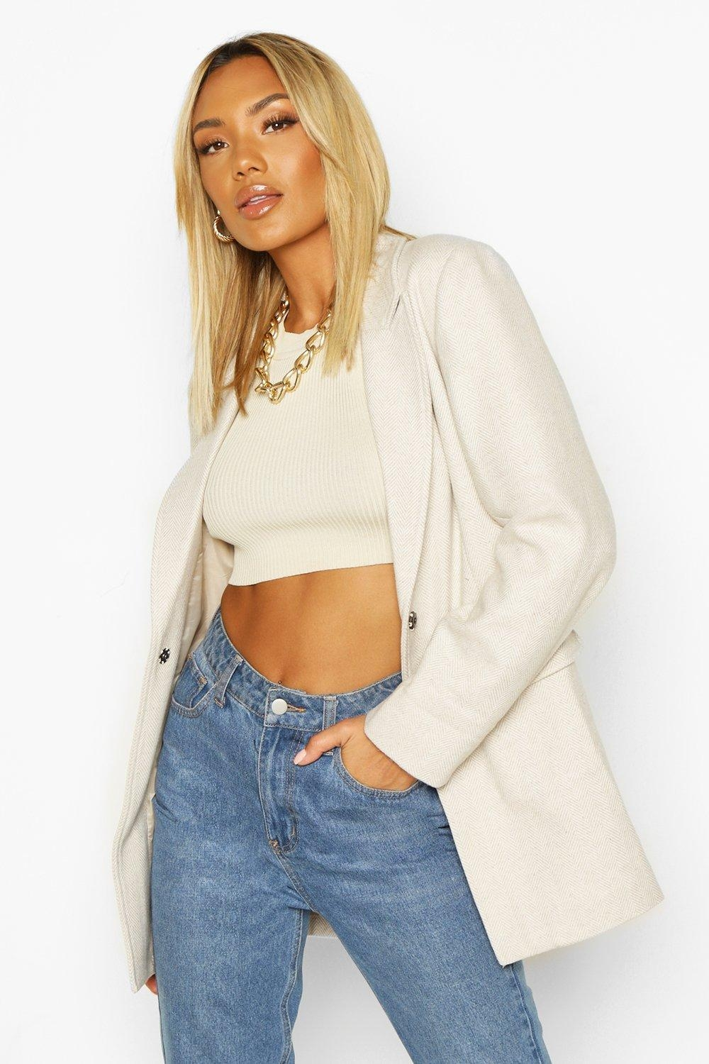 Herringbone Wool Look Belted Jacket, White